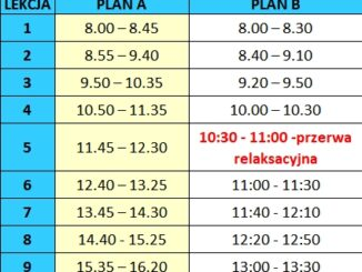 Godziny lekcji plan A i B